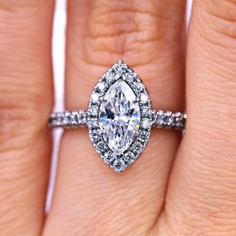 18KT White Gold 1.51 Ct TDW Micropave Marquise Diamond Engagement Ring