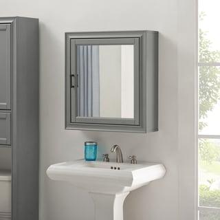Tara Bath Mirror Cabinet In Vintage Grey