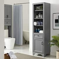 Crosley Furniture Tara Vintage Grey Wood Finish Linen Cabinet