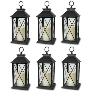 6 Decorative Lanterns Cross-X-Design with LED-Flameless Flickering Candle