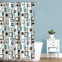 "Splash Home Cubist Polyester Fabric Shower Curtain, 70"" x 72"", Blue"