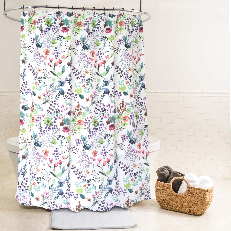 "Splash Home Fiore Multi Color Floral Print Fabric Shower Curtain 70/"" x 72/"""