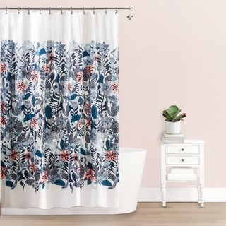 """Splash Home Florelo Polyester Fabric Shower Curtain, 70"""" x 72"""", Blue / Coral"""