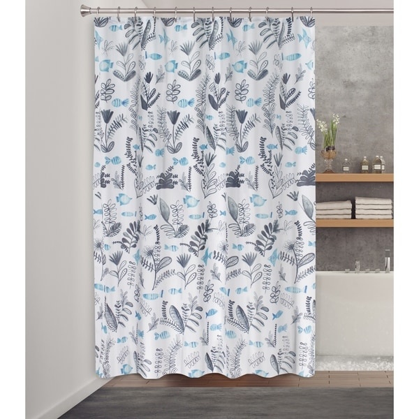 Splash Home Oceo Polyester Fabric Shower Curtain 70 X 72 Grey