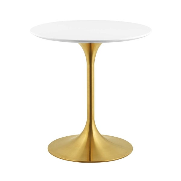 """Lippa 28"""" Round Dining Table - Gold White"""