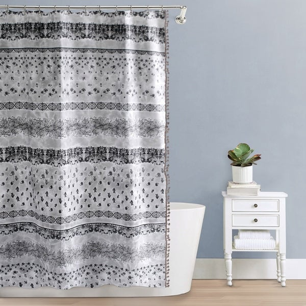 Splash Home Andalucia Polyester Fabric Shower Curtain 70 X 72