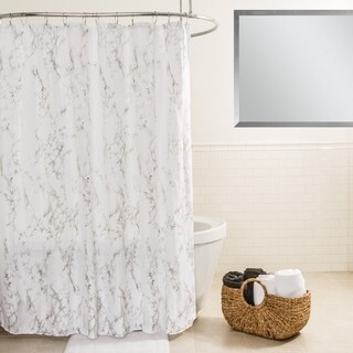 "Splash Home Marble Polyester Fabric Shower Curtain, 70"" x 72"", Grey"