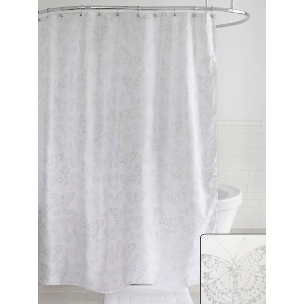 Shop Splash Home Butterfly Polyester Fabric Shower Curtain 70 X 72 White Silver