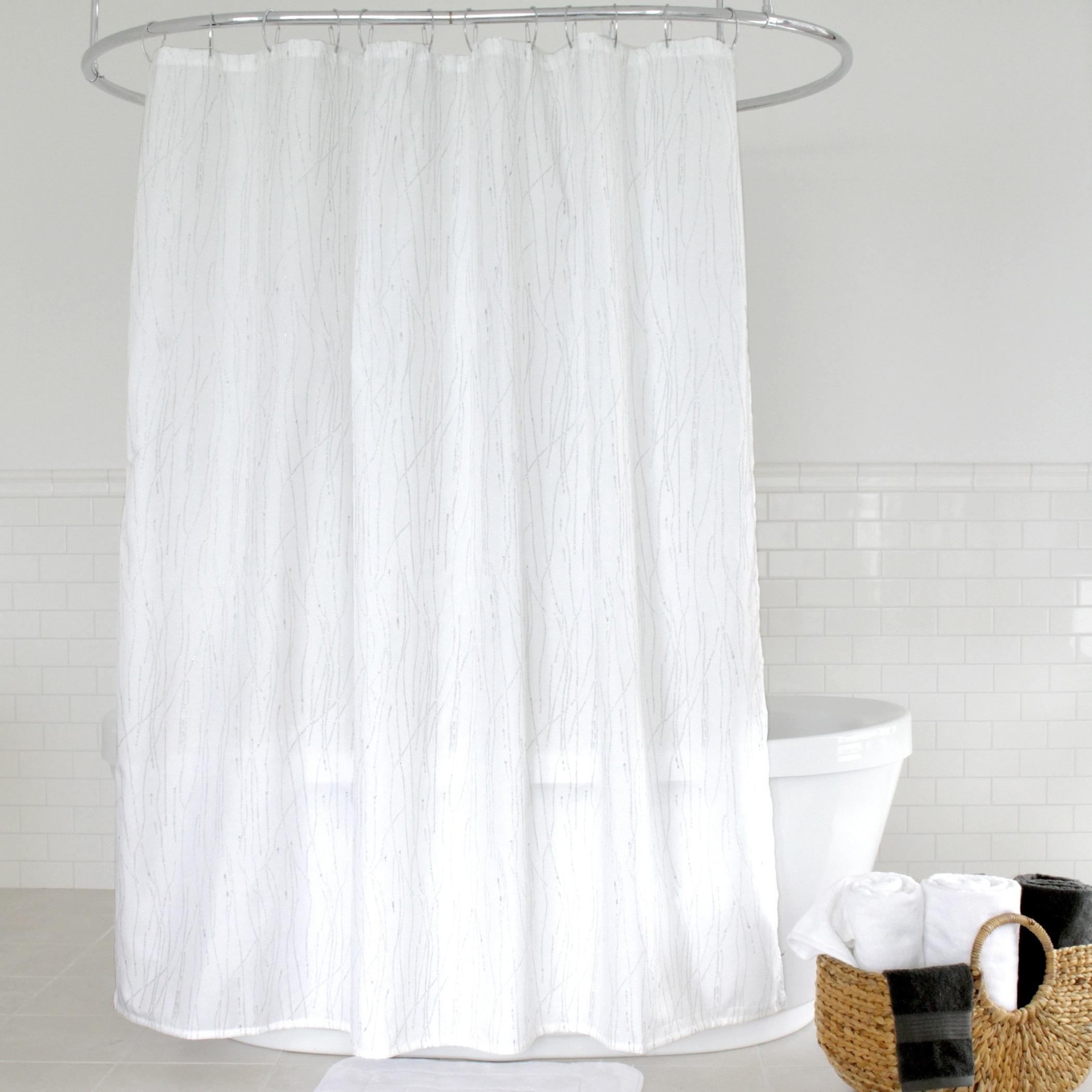 Shop Splash Home Alexa Polyester Fabric Shower Curtain 70 X 72 White Gold Overstock 23040346