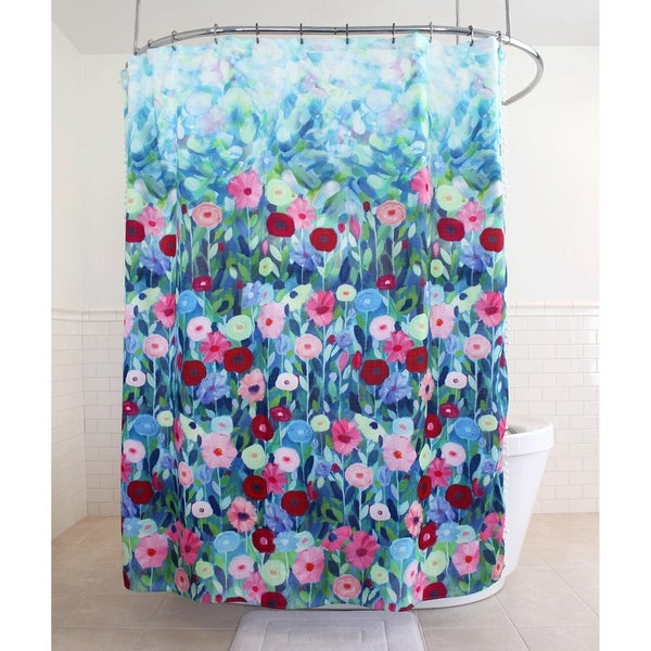Splash Home Lovely Floral Polyester Fabric Shower Curtain 70 X 72 Multi