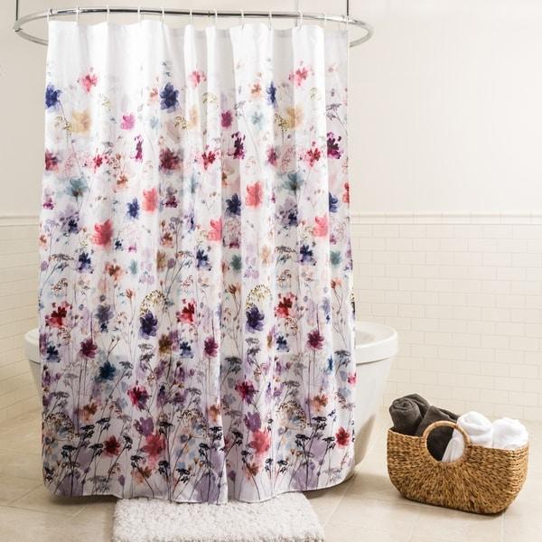 Splash Home Vera Polyester Fabric Shower Curtain 70 X 72 Multi Colors
