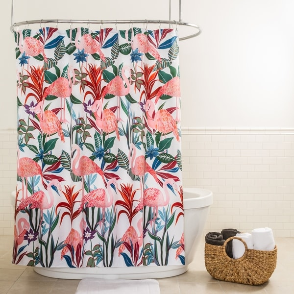 Splash Home Tropicana Flamingo Polyester Fabric Shower Curtain 70 X 72 Pink