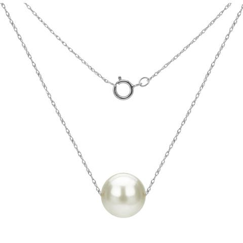 """DaVonna 14k Gold Necklace with White Freshwater Floating Pearl Jewelry Necklace, 18"""""""