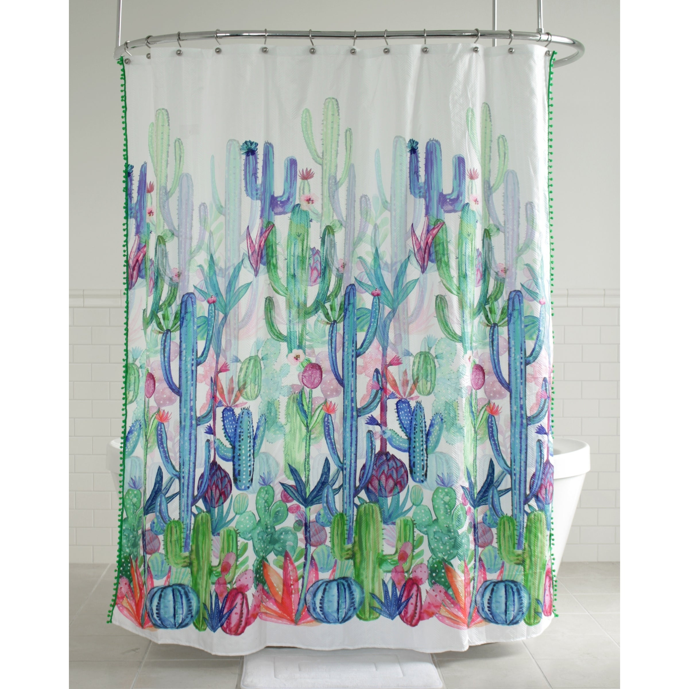 Splash Home Gobi Cactus Polyester Fabric Shower Curtain