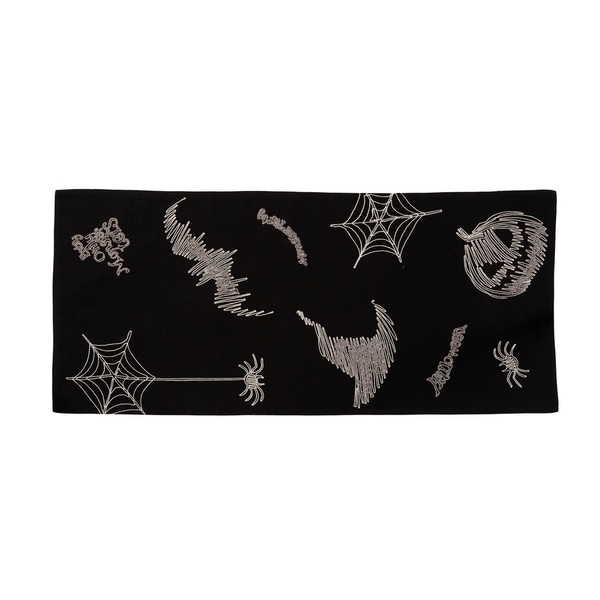 Merveilleux Happy Halloween Double Layer 16 By 36 Inch Table Runner, Black