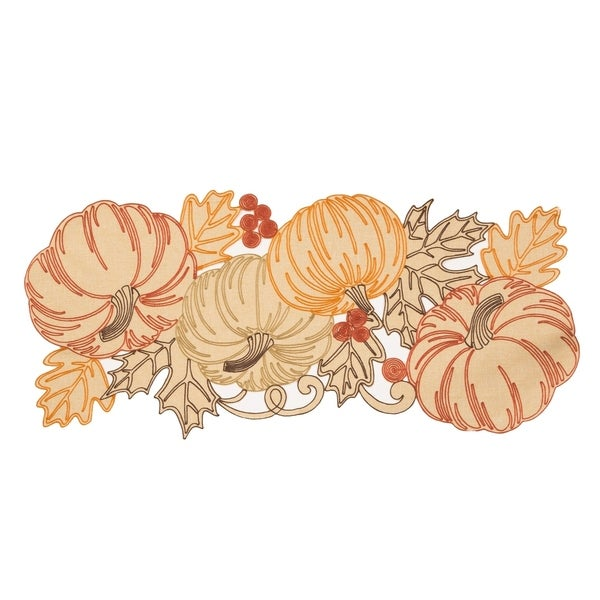 Pumpkin Party Embroidered Cutwork 16 By 36 Inch Table Runner
