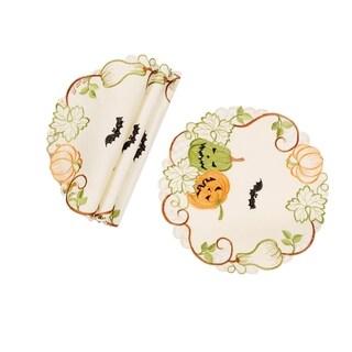 Halloween Jack-O-Lanterns Embroidered Cutwork 12-Inch Round Doilies, Set of 4