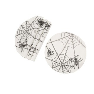 Halloween Spider Web Double layer 16-Inch Placemats, Set of 4, White - 16''round