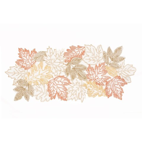 Autumn Leaves Embroidered Cutwork 16 by 36-Inch Table Runner, White