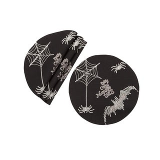 Happy Halloween Double layer 16-Inch Placemats, Set of 4, Black
