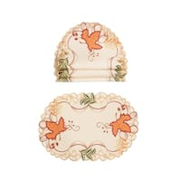 "Falling Leaves Embroidered Cutwork 13 by 19-Inch Placemats, Set of 4 - 13""x19"""