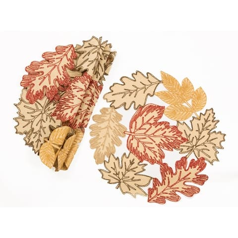 """Autumn Leaves Embroidered Cutwork 16-Inch Round Placemats, Set of 4, White - 16""""x16"""""""