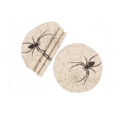 Halloween Creepy Spiders Double layer 16-Inch Placemats, Set of 4, Natural