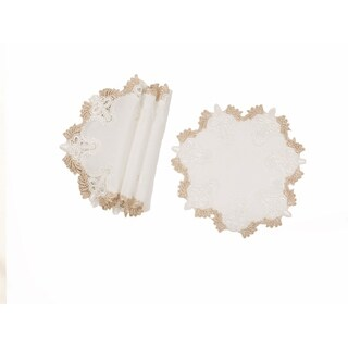 Anais Elegant Lace Embroidered Cutwork 12-Inch Round Doilies, Set of 4