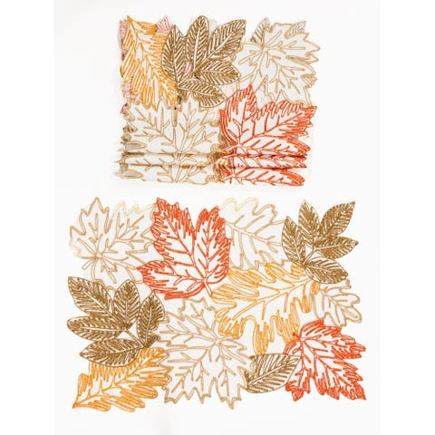 """Autumn Leaves Embroidered Cutwork 14 by 20-Inch Placemats, Set of 4, White - 14""""x20"""""""