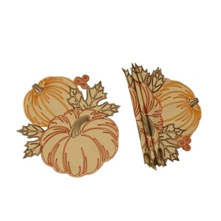 Pumpkin Party Embroidered Cutwork 16 Inch Round Placemats Set Of 4 Overstock 23040441