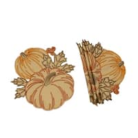 Pumpkin Party Embroidered Cutwork 16-Inch Round Placemats, Set of 4
