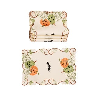 "Halloween Jack-O-Lanterns Embroidered Cutwork 13 by 19-Inch Placemats, Set of 4 - 13""x19"""