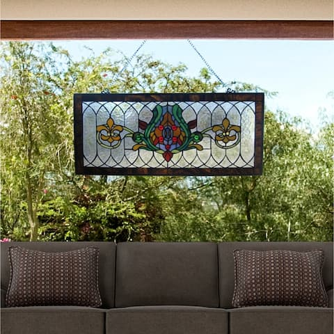 "River of Goods Fleur De Lis Stained Glass Pub Window Panel - 30""L x 0.25""W x 14""H"