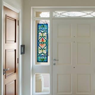 "River of Goods Victorian Stained Glass Fleur De Lis Window Panel - 9.5""L x 0.25""W x 36""H"