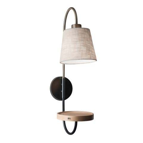Adesso Jeffrey Black and Antique Brass Wall Lamp Wall Light, with USB Port