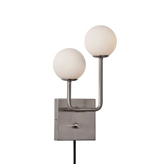Adesso Brushed Steel Asbury Wall Lamp, with USB Port