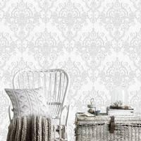 Victorian Damask Silver Wallpaper