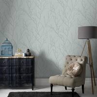 Water Silk Sprig Teal Wallpaper