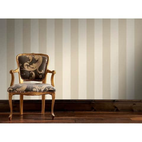 Water Silk Stripe Ivory/ Taupe Wallpaper