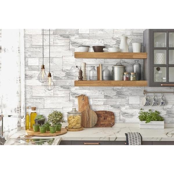 Shop Shiplap Wood Beige Wallpaper - Free Shipping Today