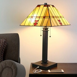 River of Goods 24.25 in. Craftsman USB Stained Glass Table Lamp