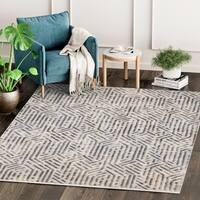 Contemporary Vista Grey/ Brown Abstract Indoor Rug - 7'10 X 10'2