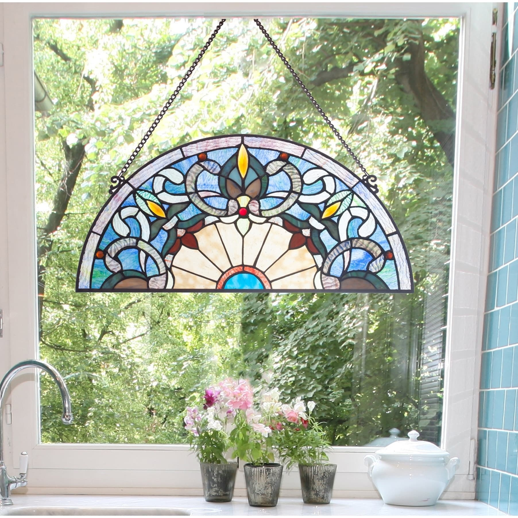 Shop Black Friday Deals On River Of Goods Victorian Corista Half Moon Stained Glass Window Panel Overstock 23040700 Blue