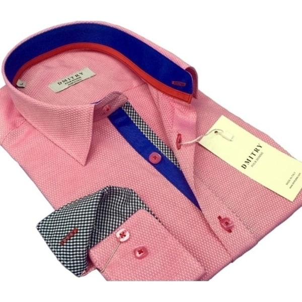 DMITRY Men's Slim Pink Textured Italian Cotton Long Sleeve Dress Shirt
