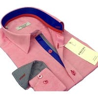 DMITRY Men's Slim Pink Textured Italian Cotton Long Sleeve Dress Shirt
