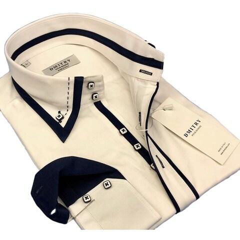 DMITRY Men's Italian Cotton White Long Sleeve Dress Shirt