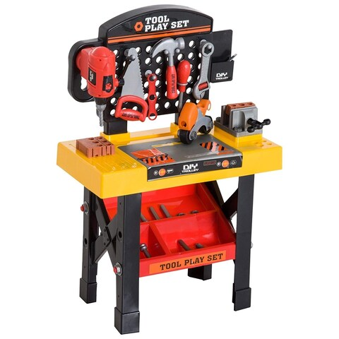 Qaba 53 Piece Kids Portable Pretend Play Toy Tool Workshop Bench Table Set With Shelf - N/A