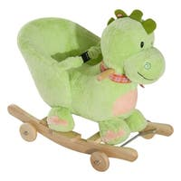 Qaba Kids Interactive 32 Songs and Rhymes Plush Ride-On Stroller Rocking Dinosaur Toy