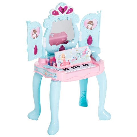 Qaba 2-In-1 Kids Pretend Play Set Piano Princess Vanity Table With Lights, Sounds, And Accessories  Light Blue/ Pink