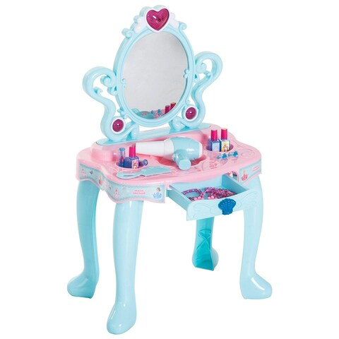 Qaba Kids Fashion Pretend Play Set Princess Vanity Table With Lights, Sounds, And Accessories - Light Blue / Pink